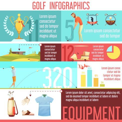 Golf Sport Infographic Retro Cartoon Poster