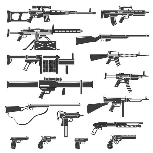 Weapons And Guns Monochrome Set vector