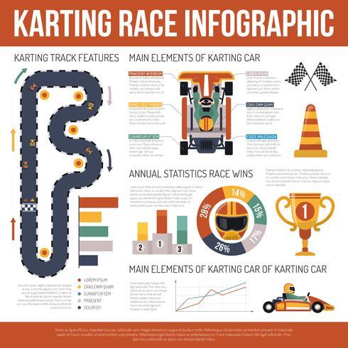 Infographie de course automobile Karting vecteur
