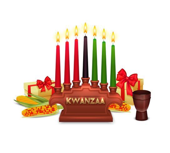 Kwanzaa-Feiertags-Feier-Symbol-Zusammensetzungs-Plakat