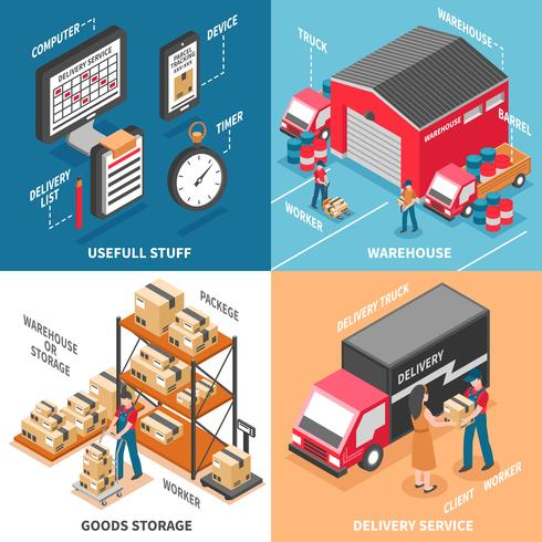 Logistics 2x2 Isometric Design Concept  vector