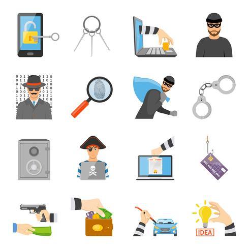 Conjunto de ícones de roubo vetor