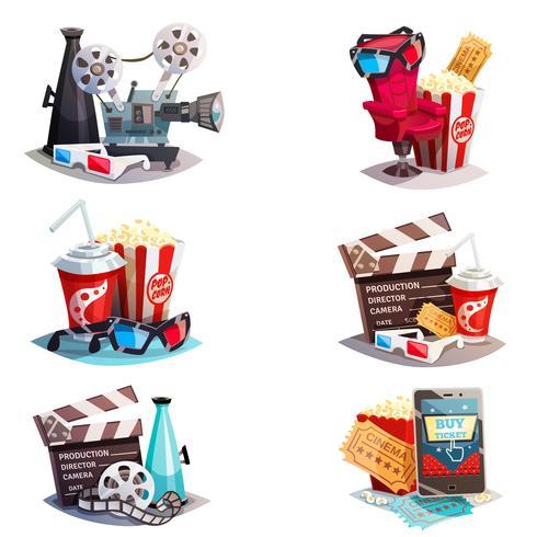 Ensemble de concepts de conception de cinéma de dessin animé 3d vecteur