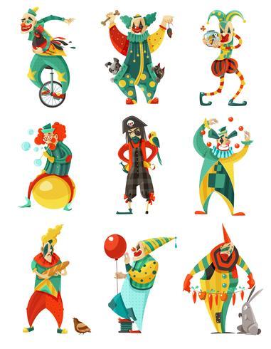 Set di icone di circo clown