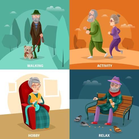 Concept de dessin animé de personnes âgées vecteur
