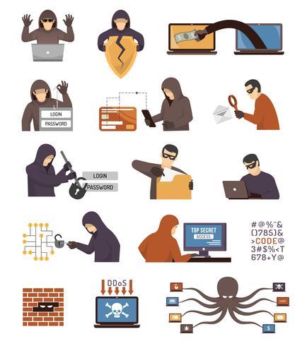 Conjunto de iconos planos de hackers de seguridad de Internet