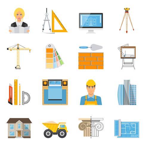 Architekt Flat Farbige Icons Sammlung