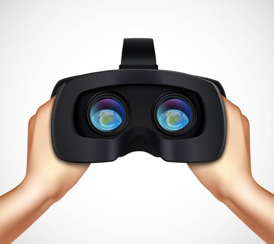 Hands Holding VR Headset Realistic Image vector