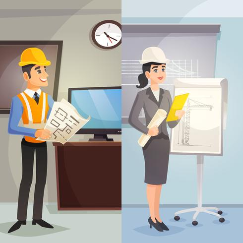 Engineer Cartoon Vertical Banners vector