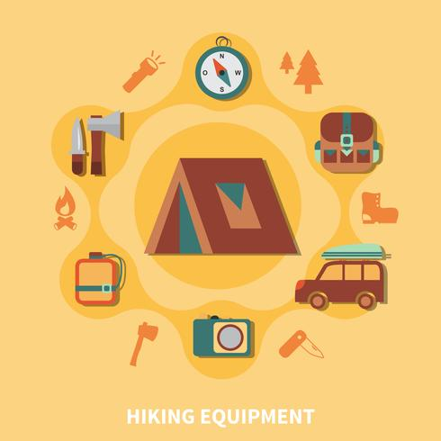 Hiking Equipment For Tourists vector