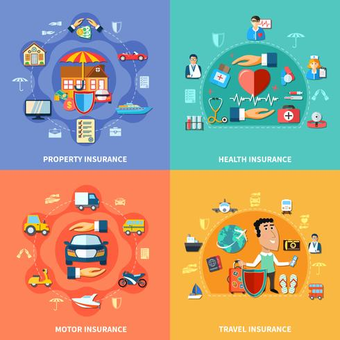 Colorful Insurance Flat Concept