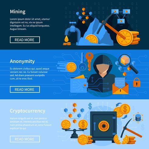 Virtuele valuta vlakke stijl Banners Set