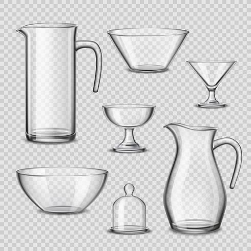 Realistiska glasögon köksredskap genomskinlig bakgrund