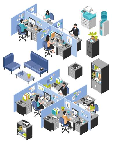 Cubicle Office Workplaces Set
