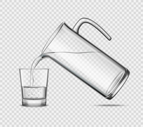 Hälla vatten i glas på transparent bakgrund