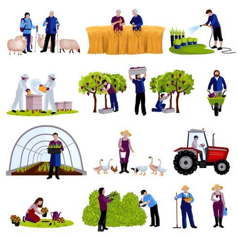 Colección de iconos planos de agricultores jardineros vector