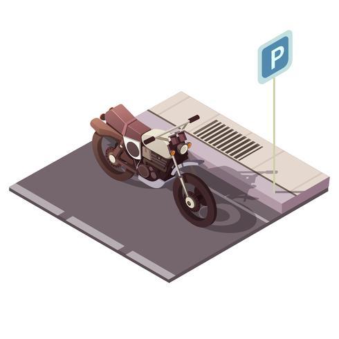 Concepto isométrico de la motocicleta vector