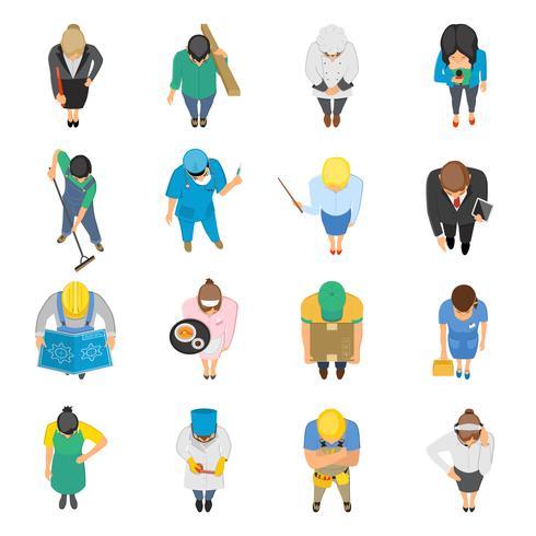 Professioni vista dall'alto set di icone colorate