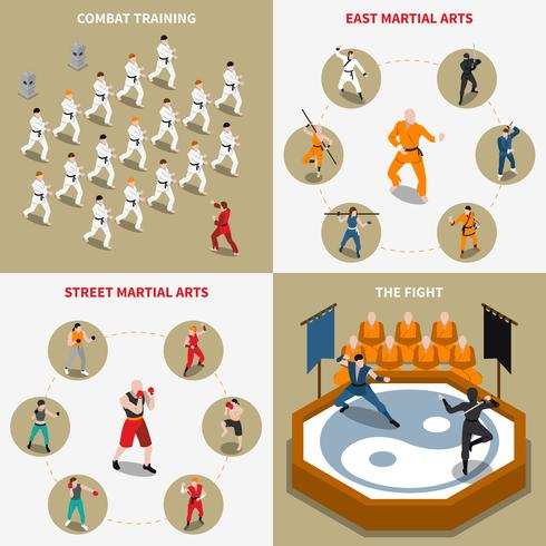 Martial Arts Människor Isometric 2x2 Icons Set vektor