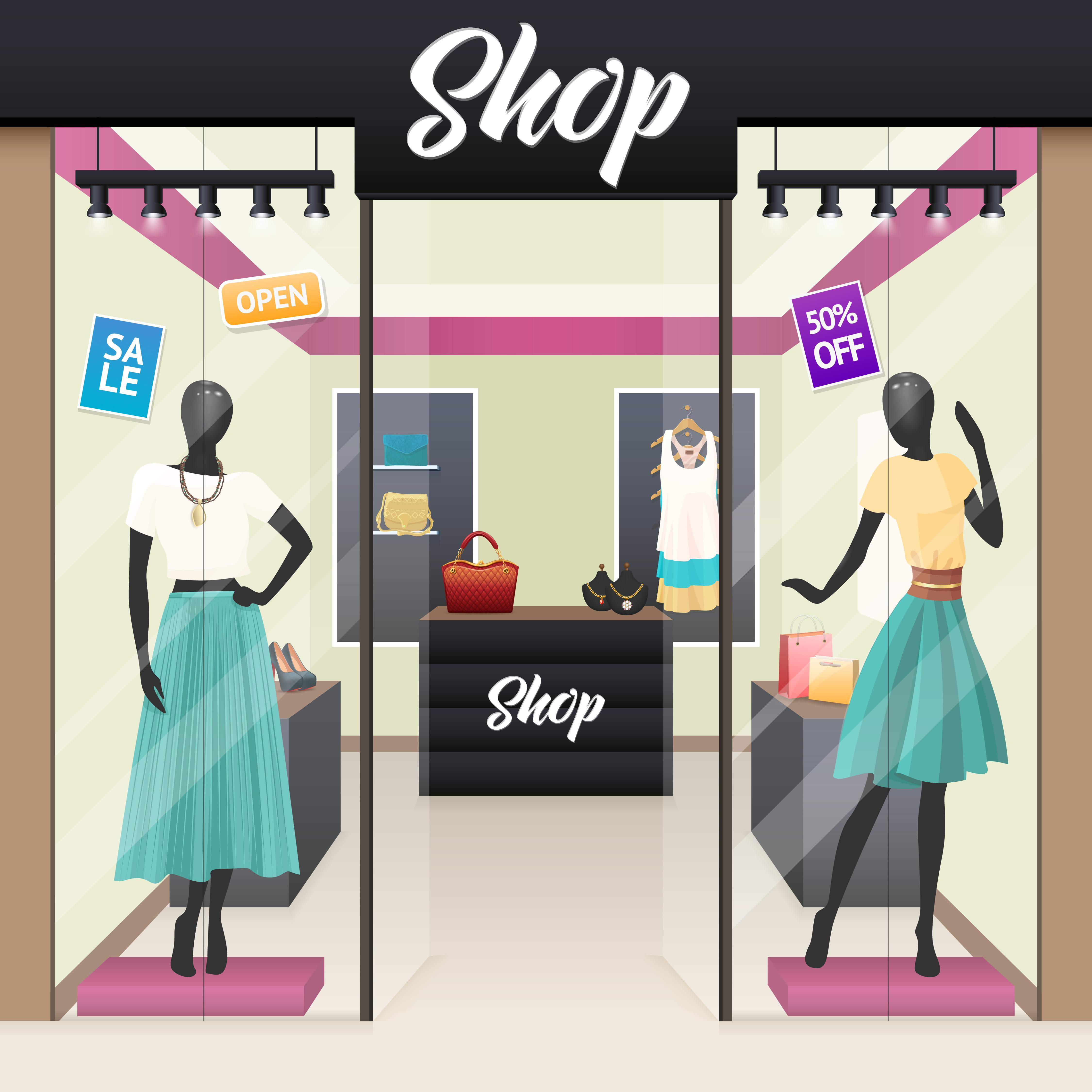 Women Fashion Shop Sale Window Display Download Free