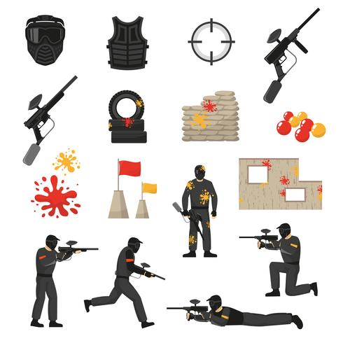 jeu d'icônes de paintball