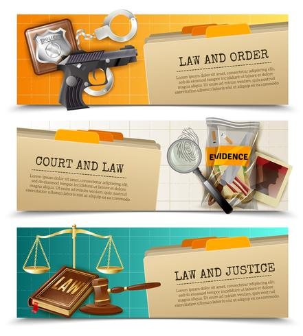 Set di bandiere di legge giustizia piatte orizzontali