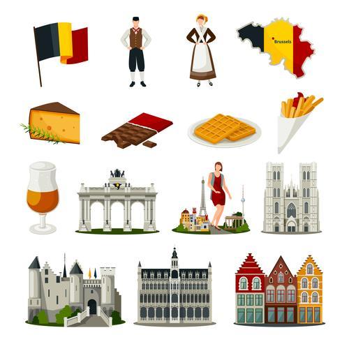 Belgien Plattforms ikoner Set