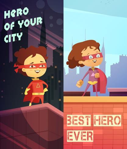 Banners verticales con niños en trajes de superhéroes