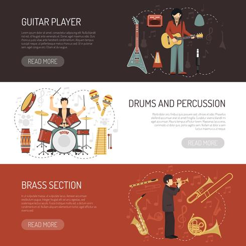 Musikare Horisontella Banderoller vektor
