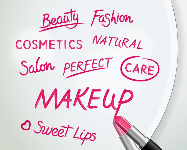 Lippenstift-Wörter auf realistischem Plakat des Spiegels