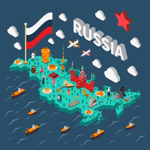 Russia Isometric Touristic Map vector