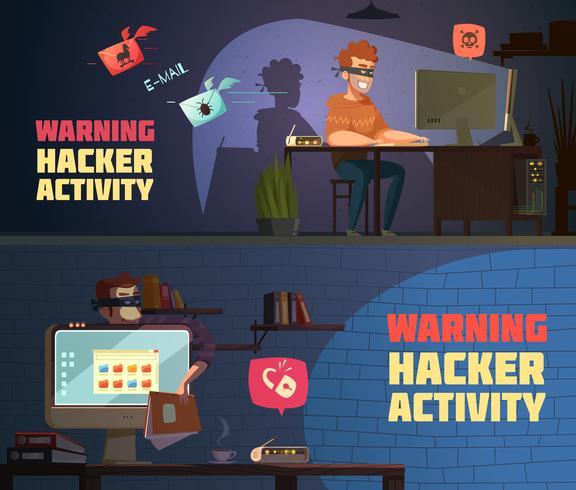 Waarschuwing Hacker Activiteit 2 horizontale banners