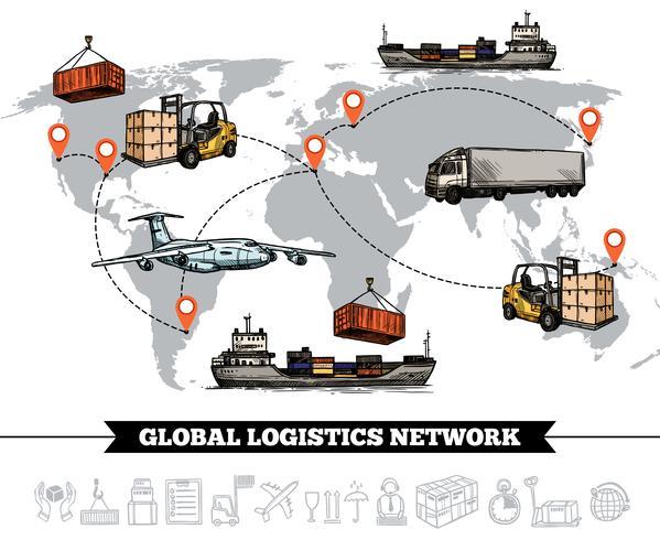 Modello di rete logistica mondiale vettore