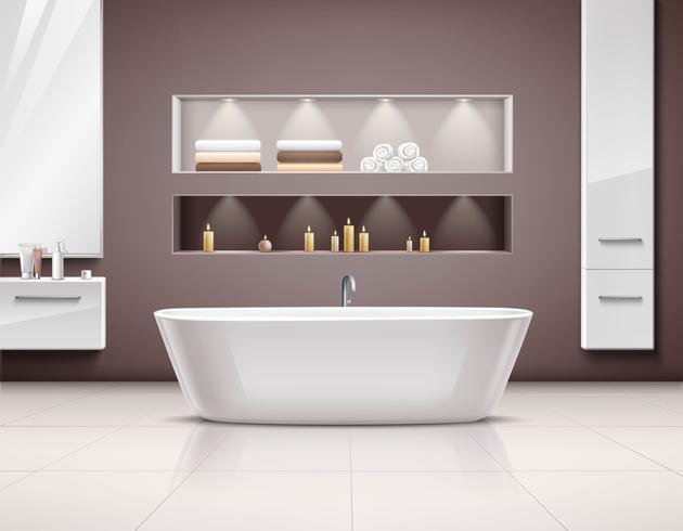 Interior de baño diseño realista vector