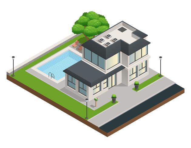 Composition isométrique de maison de banlieue vecteur