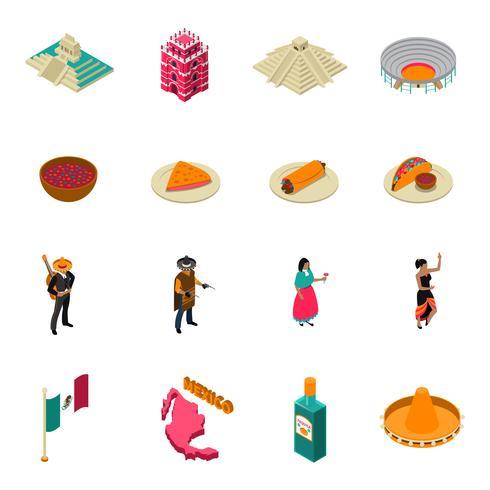 Colección de iconos isométricos de las atracciones turísticas de México