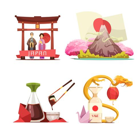 Japan Culture 4 Retro Kompositionen gesetzt vektor