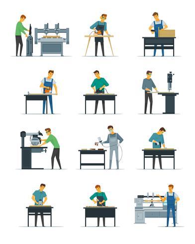 Carpintería de carpintería servicio plano iconos colección vector