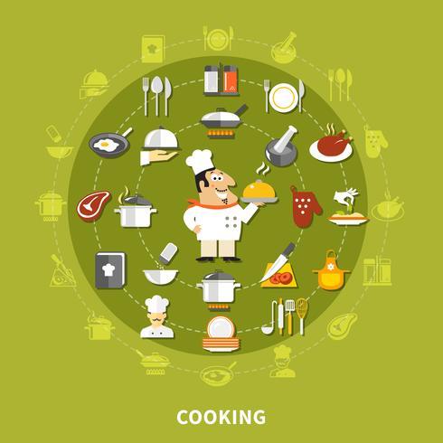 Colección de iconos de cocina del círculo vector