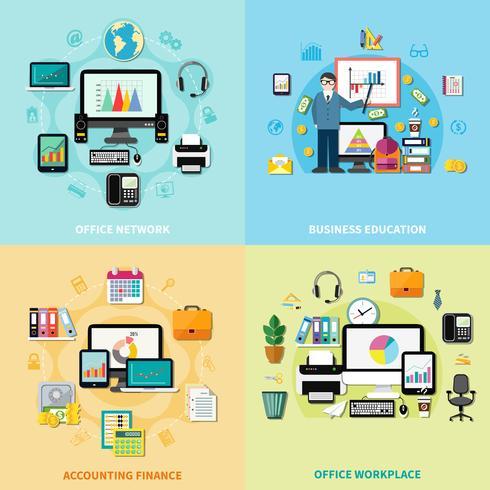 oficina de trabajo 2x2 concepto de diseño vector
