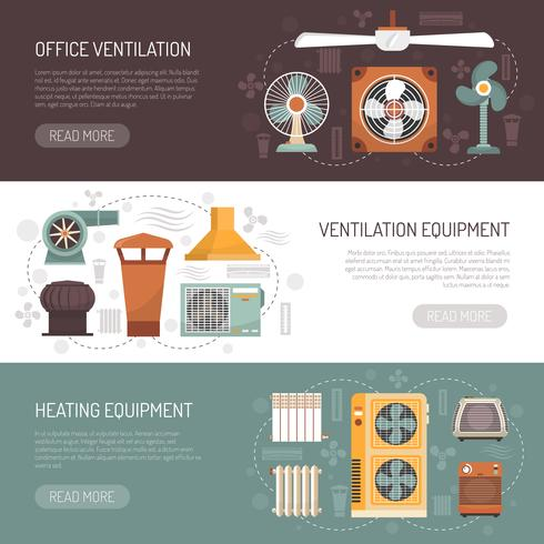 Ventilacion Acondicionamiento Y Calefacción Banners vector