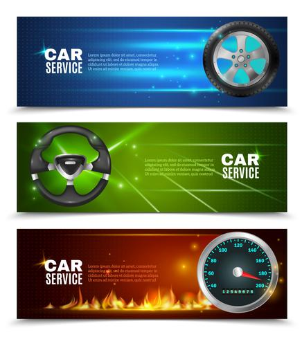 Car Service Horizontal Banners vector