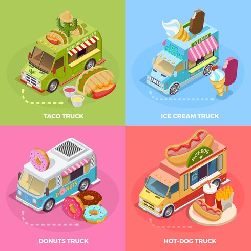 Food Truck 4 Isometric Icons Square vector