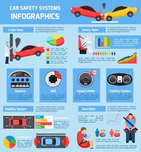 Auto veiligheidssystemen Infographics vector