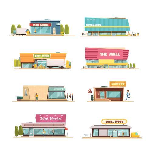 Conjunto de edifícios de loja vetor