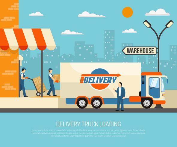 Levering Vrachtwagens Illustratie vector