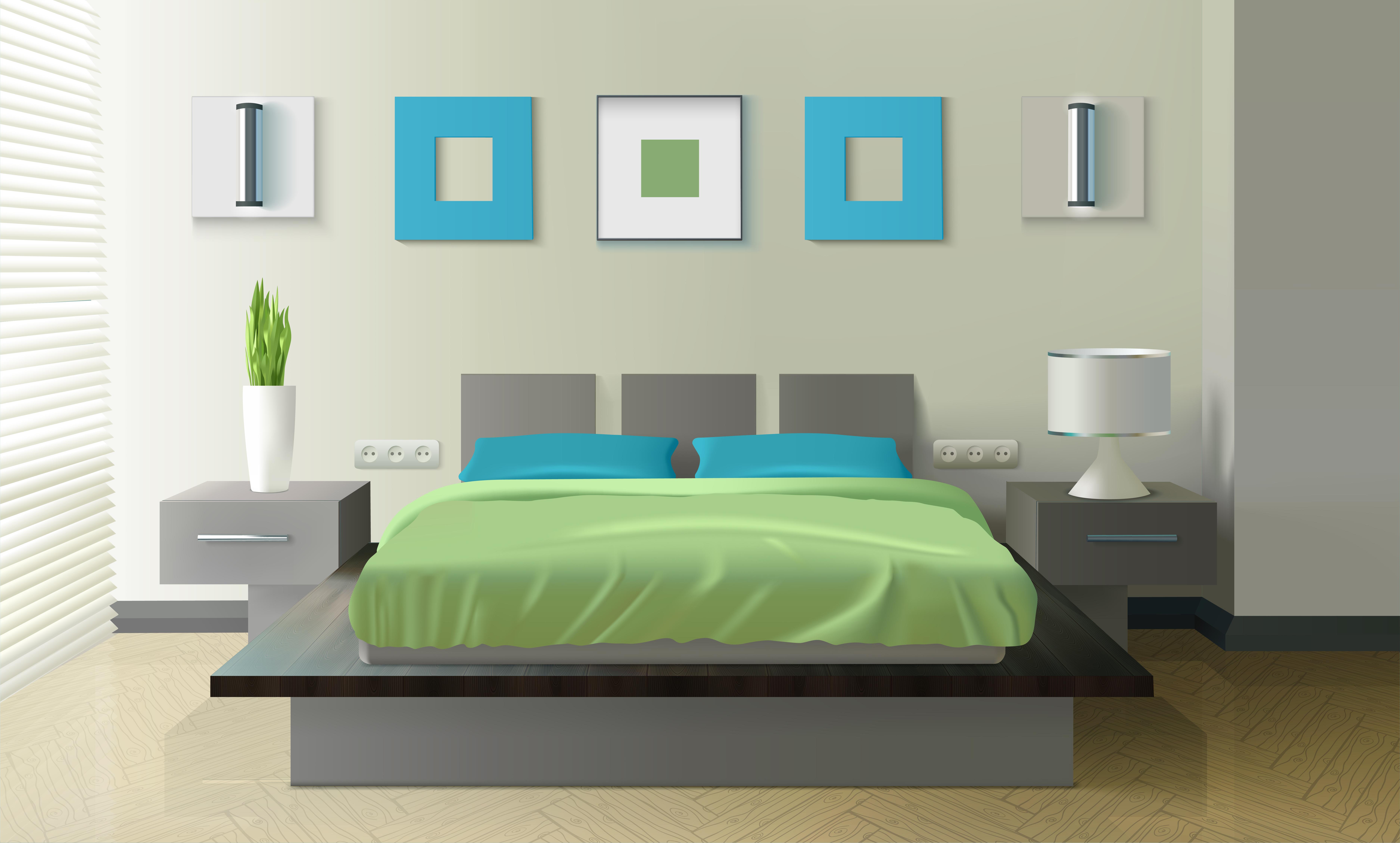 Modern Bedroom Realistic Design - Download Free Vectors, Clipart