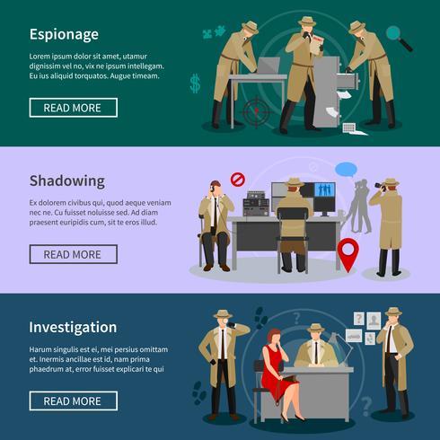 Detective Spy Horizontal Banners vektor