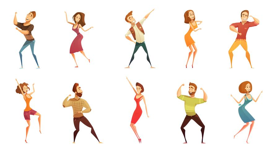 Dancing People Funny Cartoon Icons Set - Download Free Vectors ...