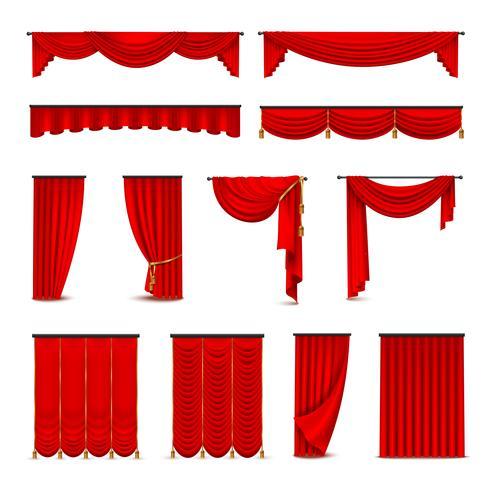 Set realistico di tendaggi di lusso tende rosse